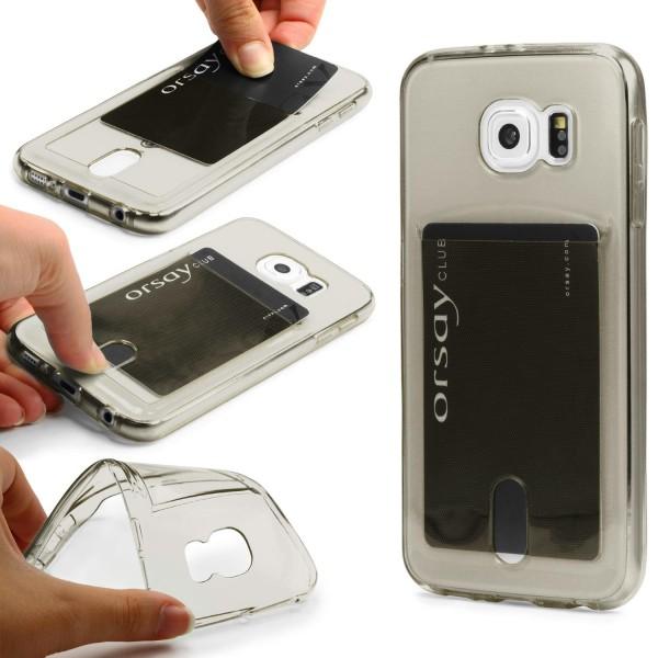 Urcover® Handy Schutz Hülle für Samsung Galaxy S6 Kartenfach Silikon Case Cover