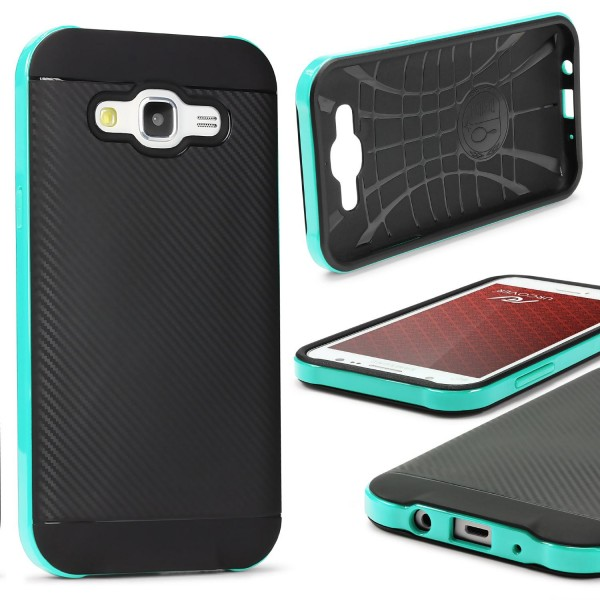 Samsung Galaxy J7 (2015) Back Case Carbon Style Cover Dual Layer Schutzhülle TPU