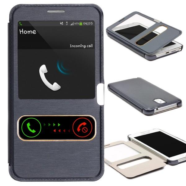 Samsung Galaxy Note 3 Double View Schutz Case Handy Hülle Fenster Tasche Cover