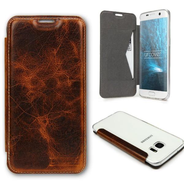 Samsung Galaxy S7 Echt Leder Schutz Hülle Case Cover klar Tasche Schale Etui