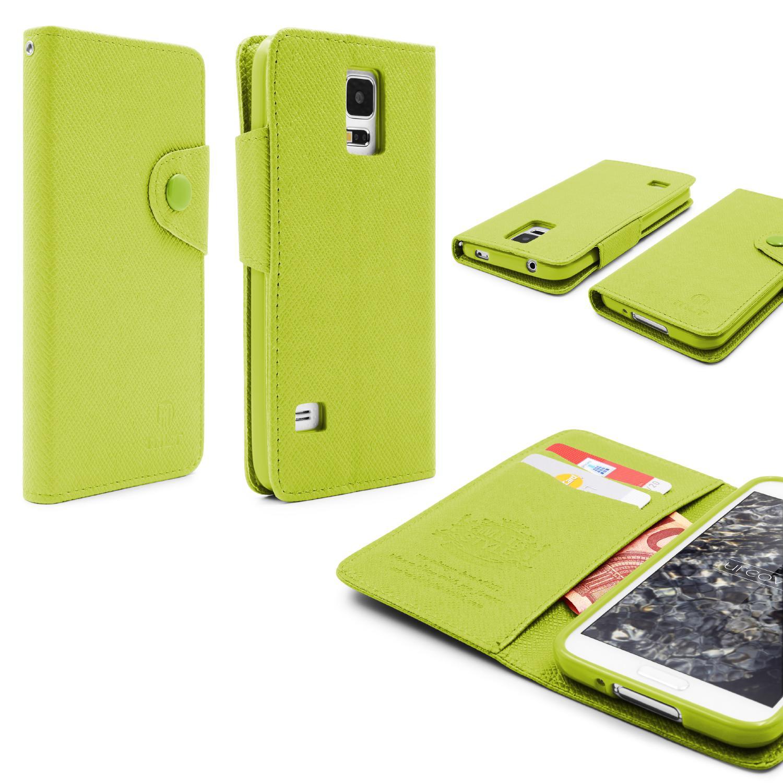 Urcover Samsung Galaxy S5 Kunststoff Wallet geriffelt Schutz Hülle Case Cover Flip Book Taschen Galaxy S5 Smartphone Samsung