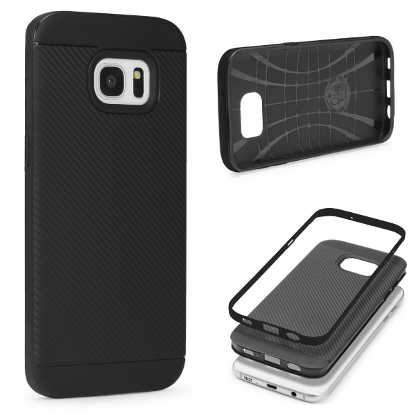 Samsung Galaxy S7 Edge Case Carbon Style Schutzhülle Cover Dual Layer TPU