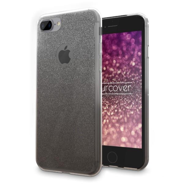Urcover® Apple iPhone 8 Plus Soft Glitzer 2 farbig Schutz Hülle Gel Silikon Einlage Strass