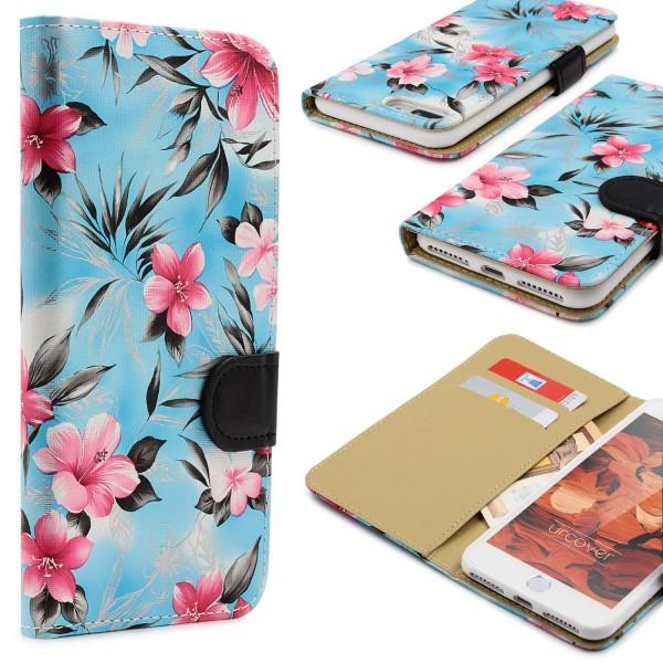 Urcover® Apple iPhone 7 Plus Schutz Hülle Blumenmuster Kartenfächer Ständer Etui