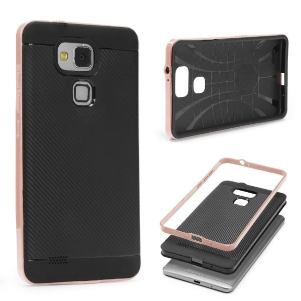 Huawei Mate 7 Back Case Carbon Style Cover Dual Layer Schutzhülle TPU Schale