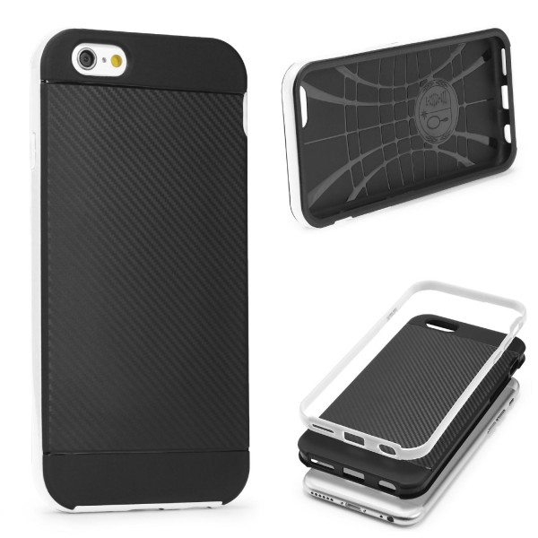 Apple iPhone 6 / 6s Back Case Carbon Style Cover Dual Layer Schutzhülle TPU