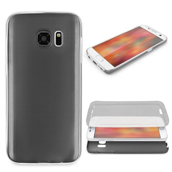 Samsung Galaxy S7 360 GRAD RUNDUM SCHUTZ Metalloptik TPU Handy Hülle Cover Case