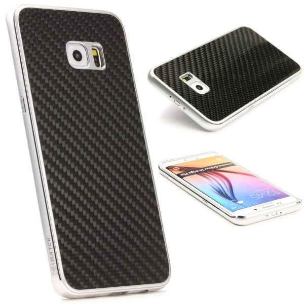 Samsung Galaxy S6 Edge Plus Echt Carbon Back Case Handy Schutz Hülle Bumper Alu