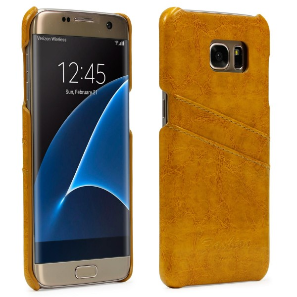Urcover® Samsung Galaxy S7 Edge Kunstleder Kartenfach Back Case Schutz Hülle