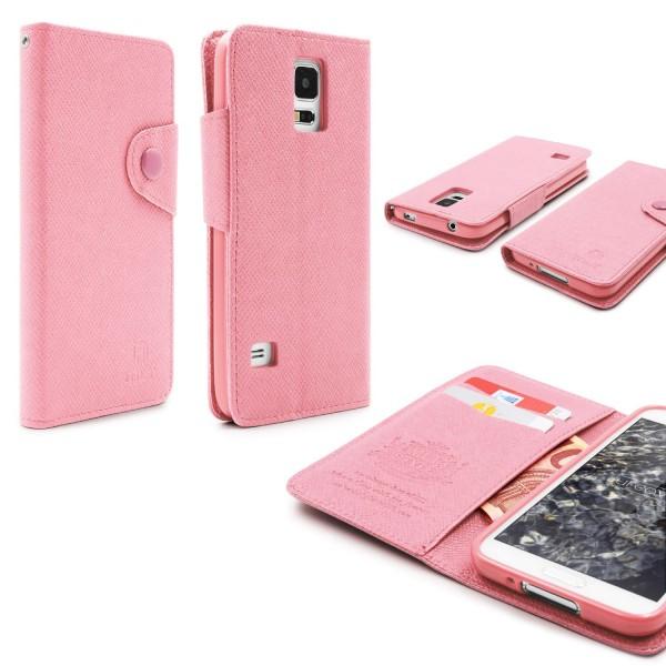Urcover® Samsung Galaxy S5 Kunststoff Wallet geriffelt Schutz Hülle Case Cover