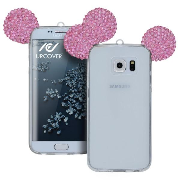 Samsung Galaxy S6 Edge TPU Maus Ohren Bling Ear Schutz Hülle Cover Glitzer