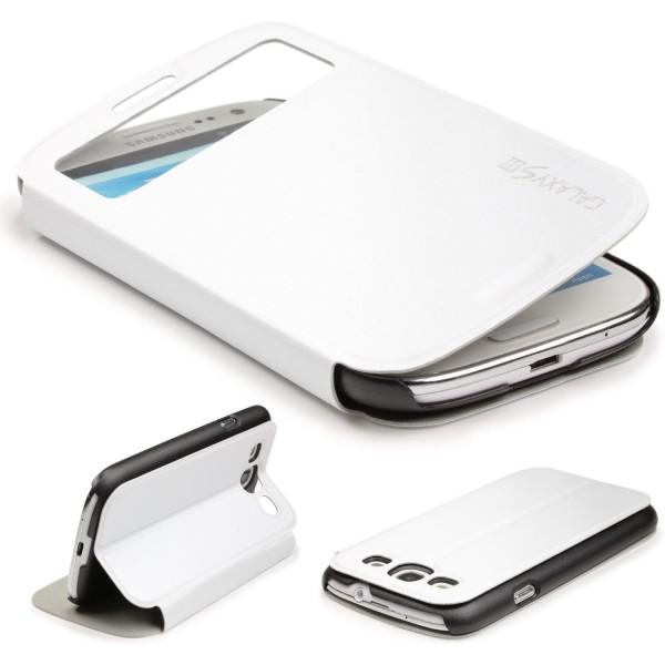 Urcover® Samsung Galaxy S3 Kunststoff Schutz Hülle Case Cover Wallet View Tasche