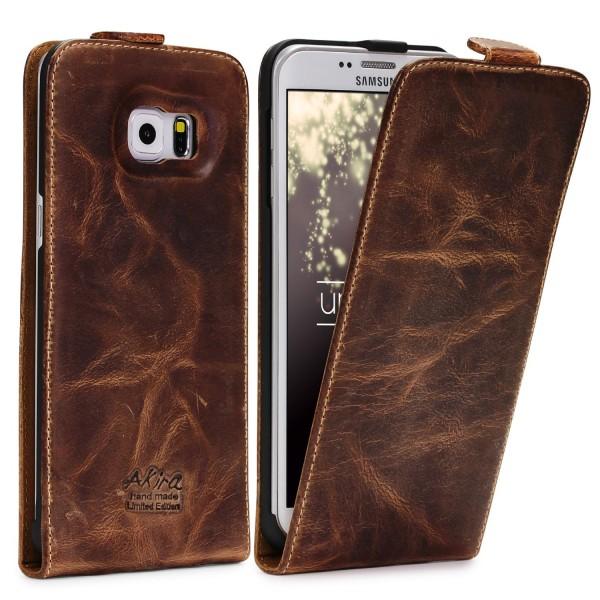 Akira Samsung Galaxy S6 Edge Plus Handgemachte Echt Leder Klapp Schutz Hülle Flip Case