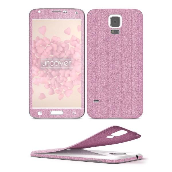 Samsung Galaxy S5 Glitzer Folie Aufkleben Regenbogen Farbig Diamond Bling Design
