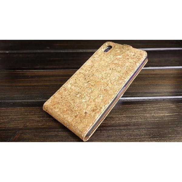 Urcover® Sony Xperia Z1 Kork Schutz Hülle Flip Wallet Case Cover Schale Tasche