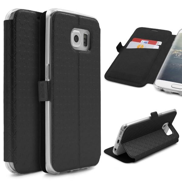 Samsung Galaxy S6 Edge Handy Schutz Hülle Sichtfenster Kartenfach Standfunktion