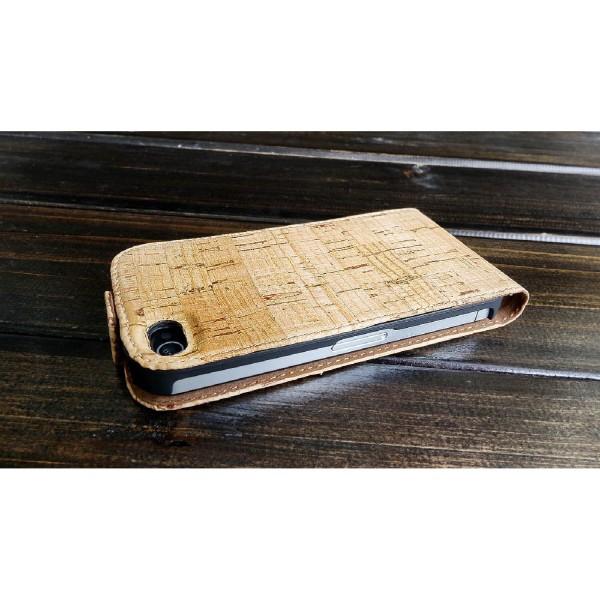 Urcover® Apple iPhone 4 / 4s Kork Flip Schutz Hülle Case Cover Wallet Etui Schale