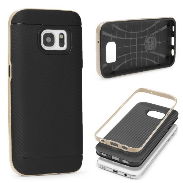 Samsung Galaxy S7 Case Carbon Style Schutzhülle Cover Dual Layer TPU
