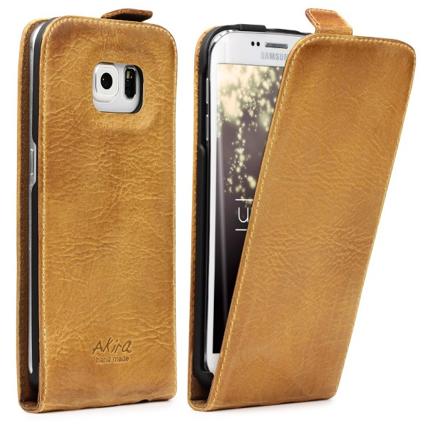 Akira Samsung Galaxy S6 Edge Echtleder Klapp Schutz Hülle Cover Flip Case