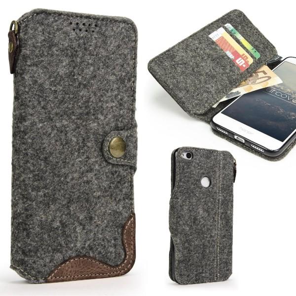 Urcover® Huawei P8 Lite (2017) Wallet Handyhülle Aufklapp Cover Kartenfach Case