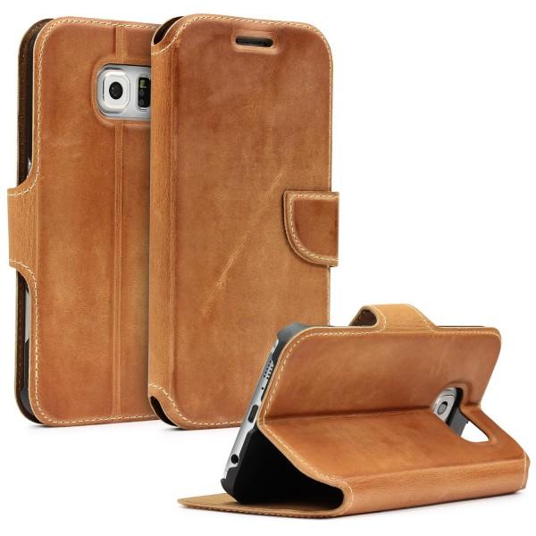 Akira Samsung Galaxy S6 Handgemachte Echt Leder Klapp Schutz Hülle Cover Flip