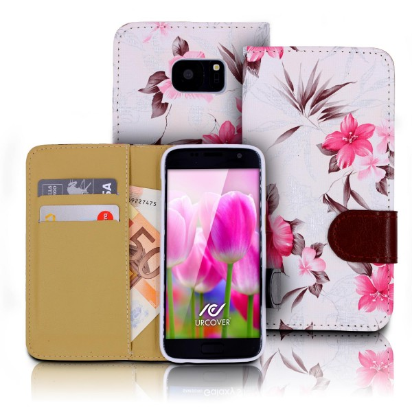 Urcover® Samsung Galaxy S7 Schutz Hülle Blumenmuster Kartenfächer Ständer Tasche