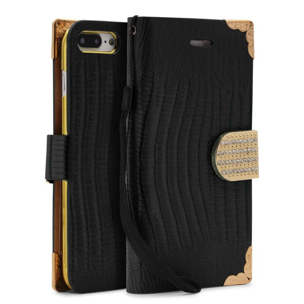 Urcover® Apple iPhone 7 Plus Hülle Kartenfächer Flip Case Cover Wallet Crocodile