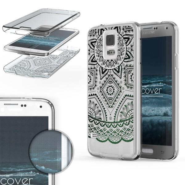 Samsung Galaxy S5 360 Grad Mandala Rücken Hülle Case Cover Rundum Schutz