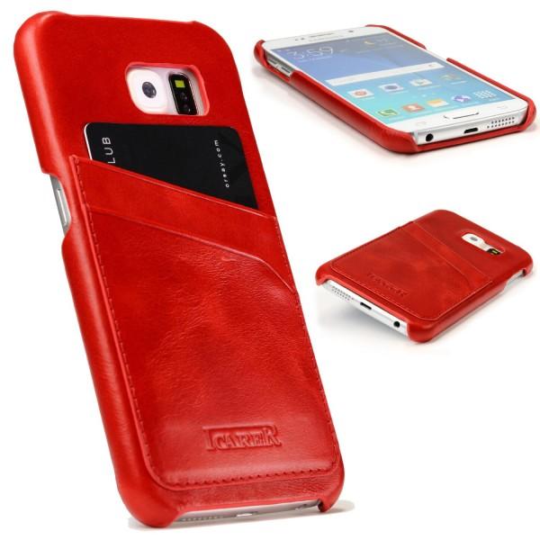 iCarer Handy Schutz Hülle für Samsung Galaxy S6 Case Cover Wallet mit Kartenfach
