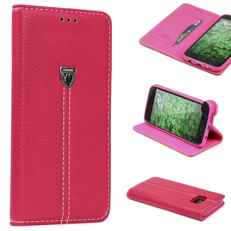 Samsung Galaxy S7 Schutz Hülle Wallet Case Flip Cover Kartenfach Standfunktion Flip Book Taschen Galaxy S7 Smartphone Samsung