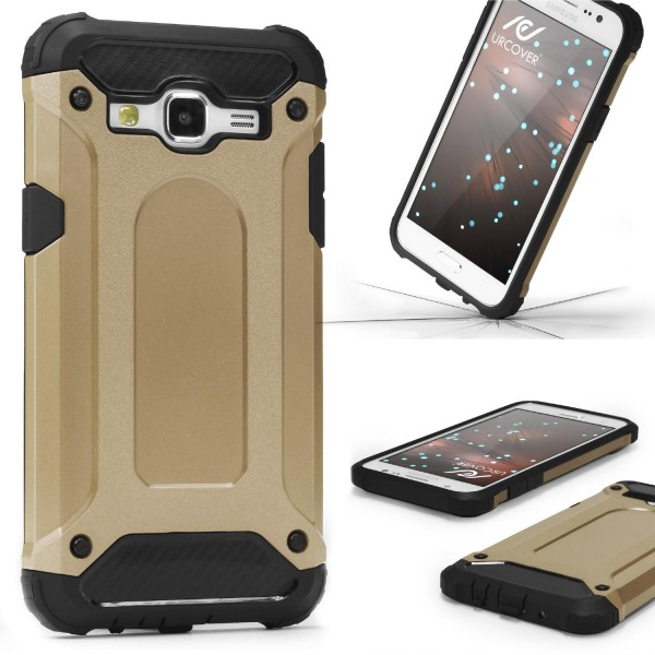 Samsung Galaxy J1 (2015) OUTDOOR Schutz Hülle TOP Cover Back Case Carbon Optik