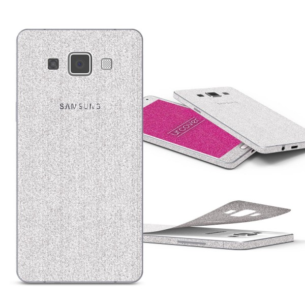 Samsung Galaxy A7 (2015) Glitzer Folie Aufkleben Regenbogen Farbig Diamond Bling
