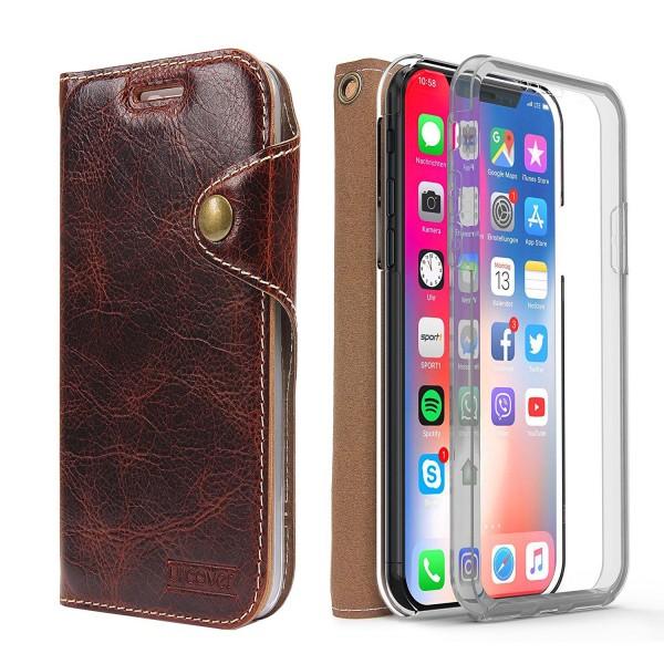 Akira Apple iPhone X 360 grad Lederhülle Ledertasche Case Cover Schutzhülle Etui