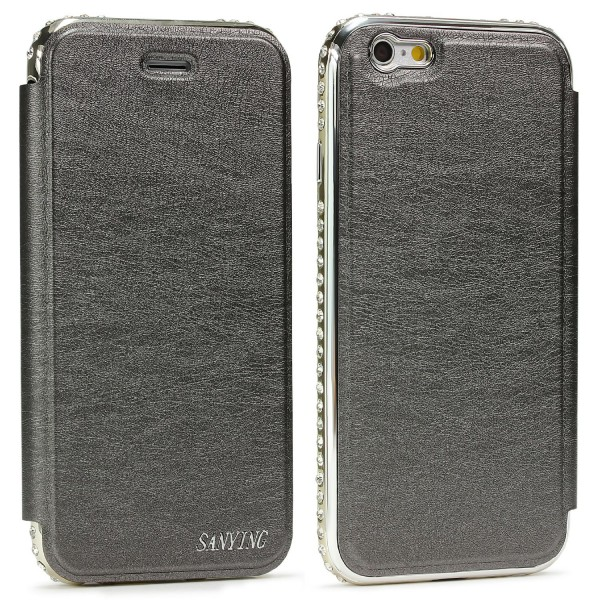 Urcover Apple iPhone 6 / 6s Kunststoff Aluminium Diamond Wallet Cover Case Hülle