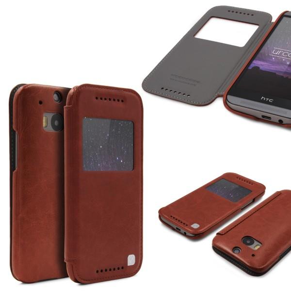 Urcover® HTC One M8 Kunstleder Wallet Schutzhülle Flip Case Cover Etui Schale