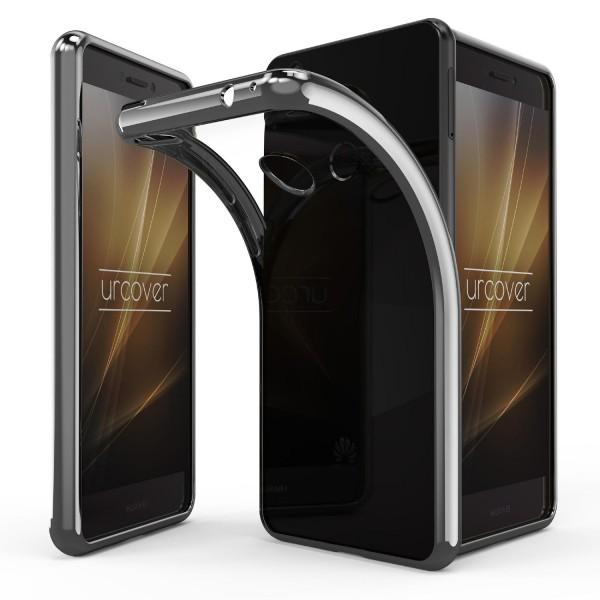 Huawei P8 Lite (2017) Hülle Spiegelrand klar Slim Cover Tasche Back Case Etui