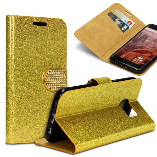 Samsung Galaxy S7 Edge Strass Bling Diamant Handy Flip Hülle Glitzer Wallet Case