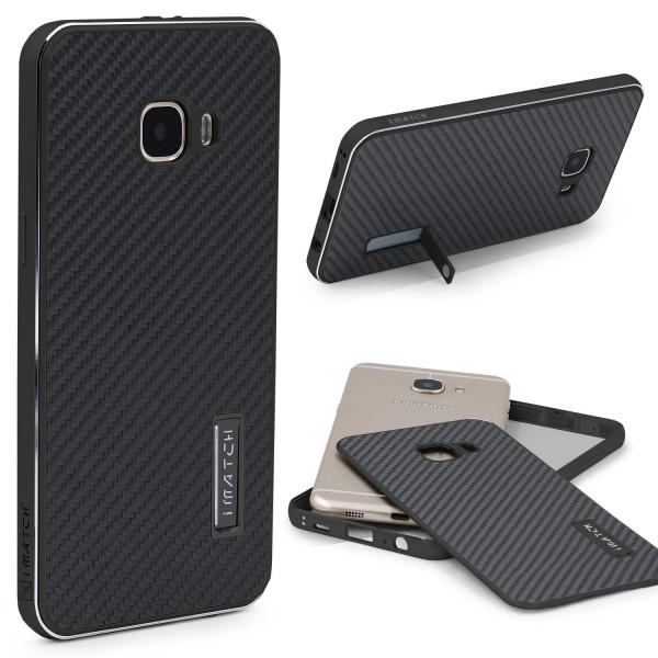 Samsung Galaxy C7 Echt Carbon Back Case Handy Schutz Hülle Bumper Alu Karbon