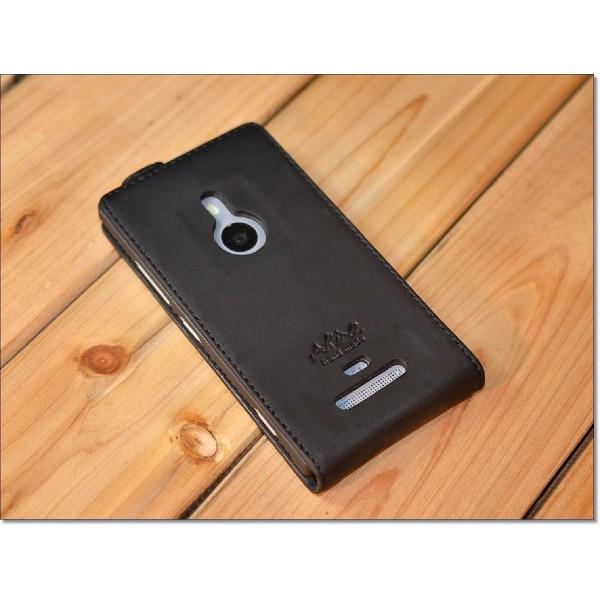 Akira Nokia Lumia 925 Handmade Echtleder Schutzhülle Etui Schale Wallet Case