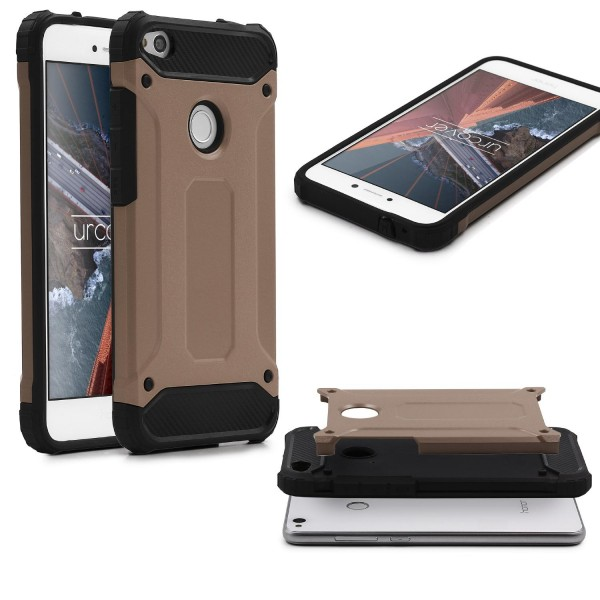 Huawei P8 Lite (2017) OUTDOOR Schutz Hülle TOP Cover Backcase Carbon Optik Etui