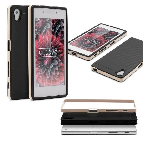 Sony Xperia Z5 Back Case Carbon Style Cover Dual Layer Schutzhülle TPU Schale