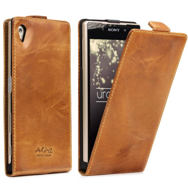 Akira Sony Xperia Z5 Compact Handgemachte Echt Leder Klapp Schutz Hülle Cover Wallet