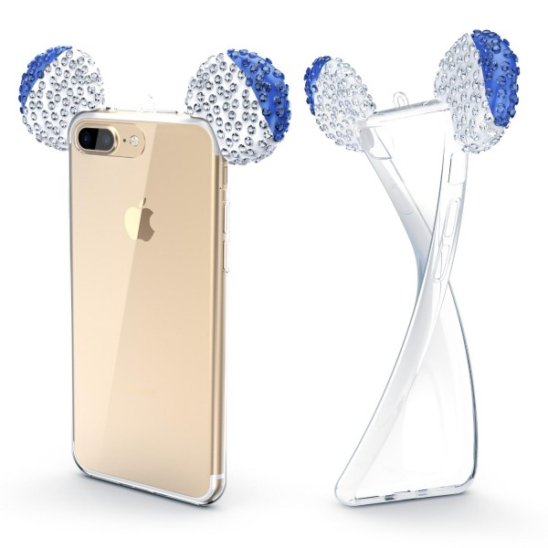 Apple iPhone 7 Plus Maus Strass Ohren Bling Ear Schutz Hülle Glitzer Cover Case