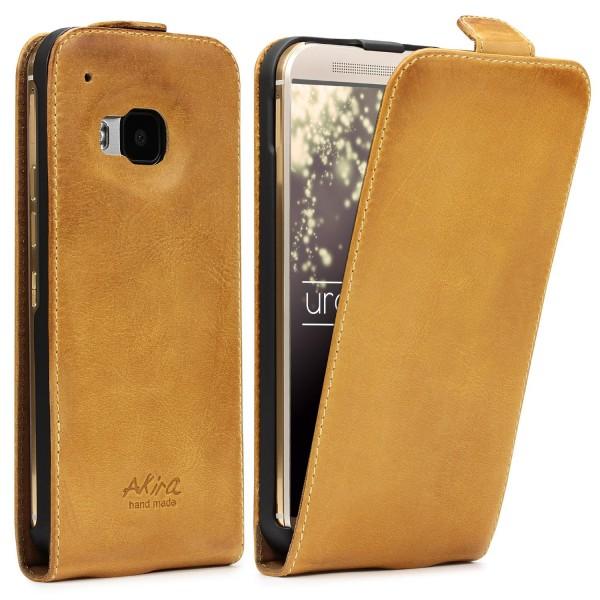 Akira HTC One M9 Handgemachte Echtleder Schutz Hülle Wallet Flip Case Cover Etui