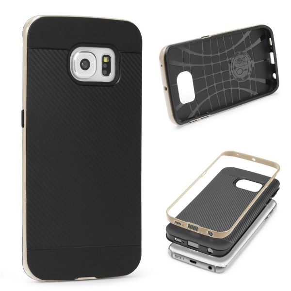 Samsung Galaxy S6 Edge Plus Back Case Carbon Style Cover Dual Layer Schutzhülle