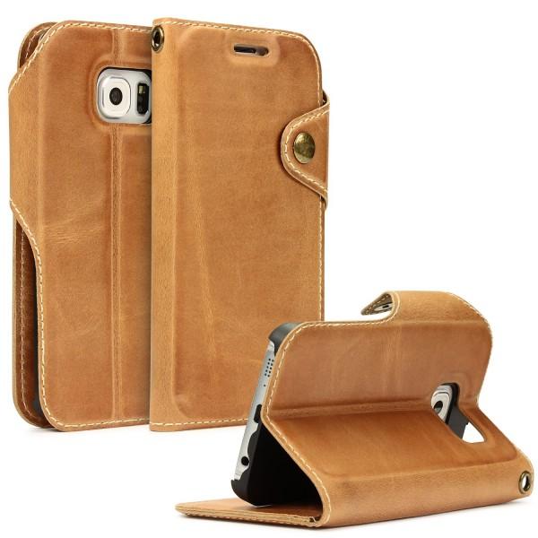 Akira Handmade Echt Leder Handy Schutz Hülle Samsung Galaxy S6 Edge Flip Cover