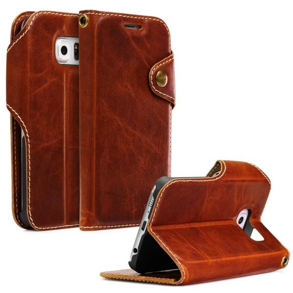 Akira Handmade Echt Leder Handy Schutz Hülle Samsung Galaxy S6 Flip Cover Case