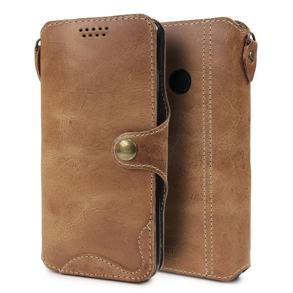 Echt Leder Schutz Hülle für Huawei P20 Lite Ledertasche Lederhülle Flip Wallet