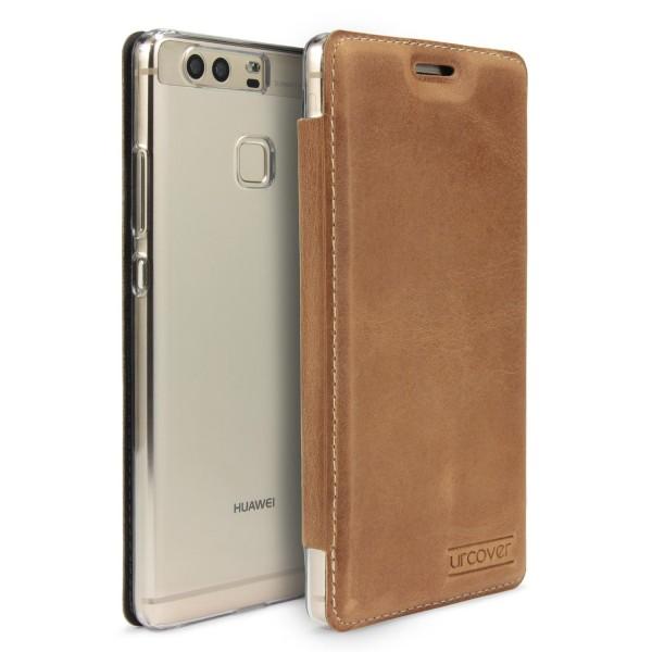 Huawei P9 Urcover Echt Leder Wallet Handyhülle Bruchsicher Cover Kartenfach Case
