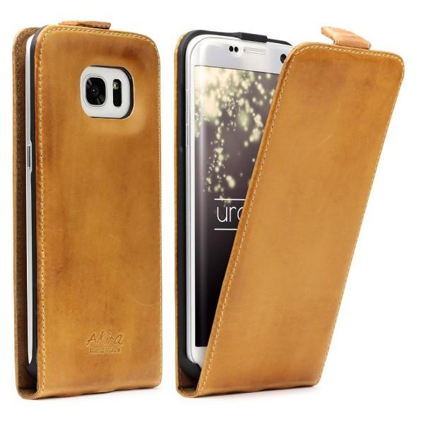 Akira Hand Made Echt Leder Handy Schutz Hülle Samsung Galaxy S7 Edge